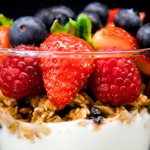 Greek Yogurt/ Strawberries/ Blueberries and Granola